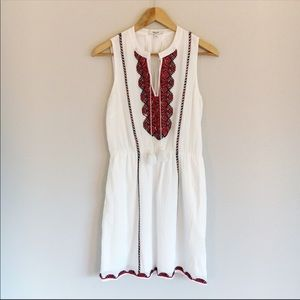 Madewell | White embroidered tassel boho dress 0